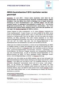 ABDA-Haushaltsentwurf 2016: Apotheker werden geschröpft (Presseinformation-Juni 2015)