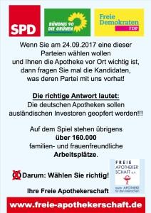 Plakat BTW-Aktion mit Logo Verein Freie Apothekerschaft
